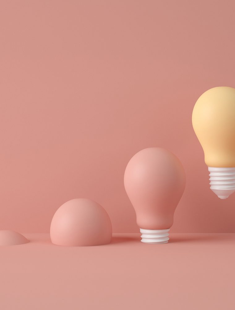 3D Illustration. Row of light bulbs with one of different colour isolated against color pastel background. Creative. Idea concept. Success concept.